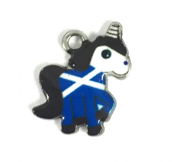 Scottish charm - Blue and white Saltire flag - Unicorn
